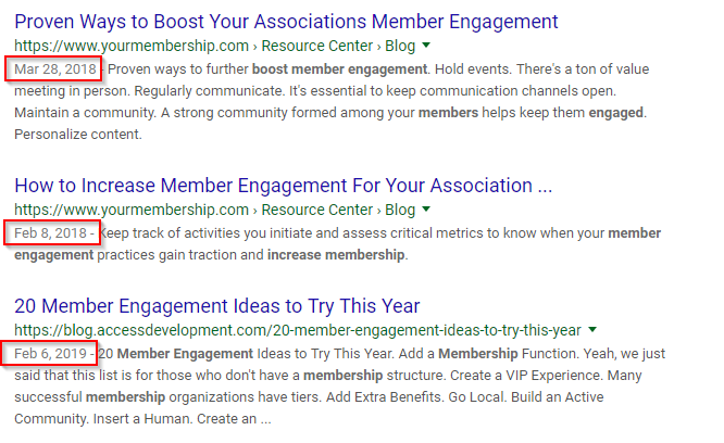 increase member engagement photo showing first three results are in the last year